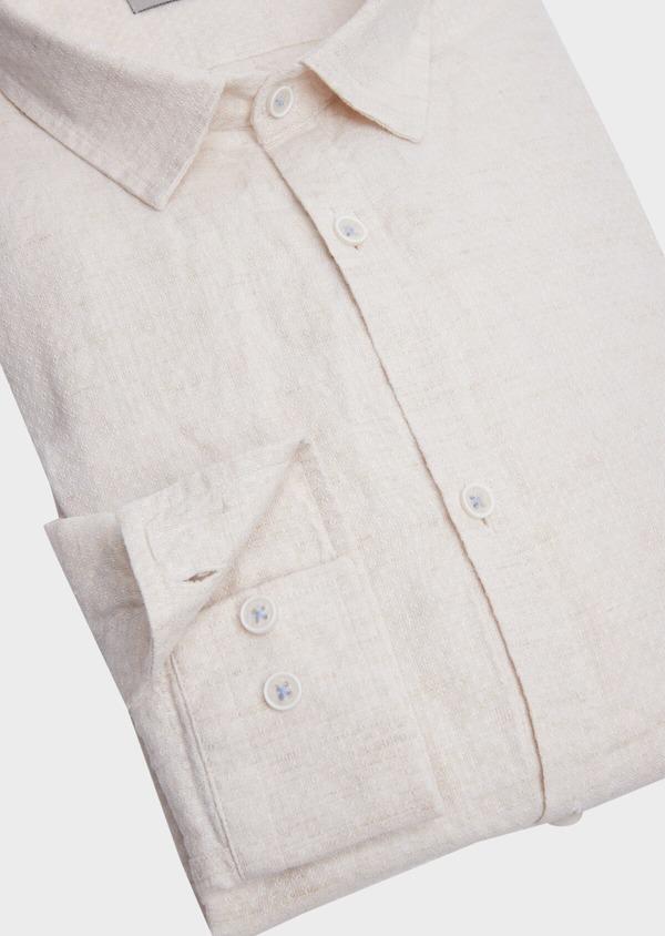 Chemise sport Slim en lin et coton beige à motif fantaisie - Father and Sons 39174