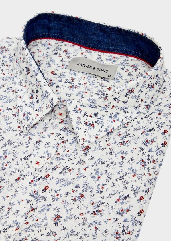 Chemise sport Slim en coton et en lin blanc à motif fleuri - Father and Sons 39470
