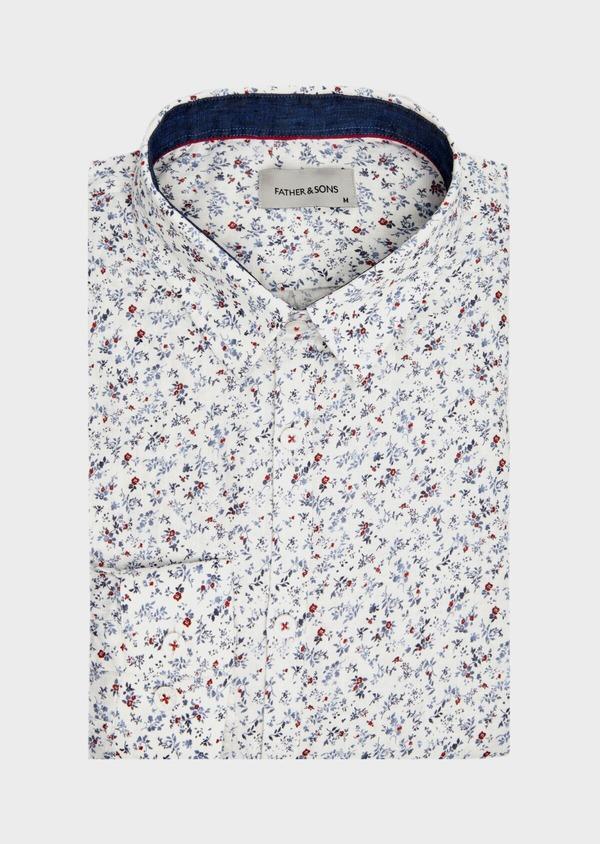 Chemise sport Slim en coton et en lin blanc à motif fleuri - Father and Sons 39468