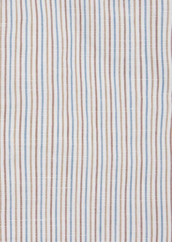 Chemise sport Slim en lin et coton blanc à rayures - Father and Sons 39465