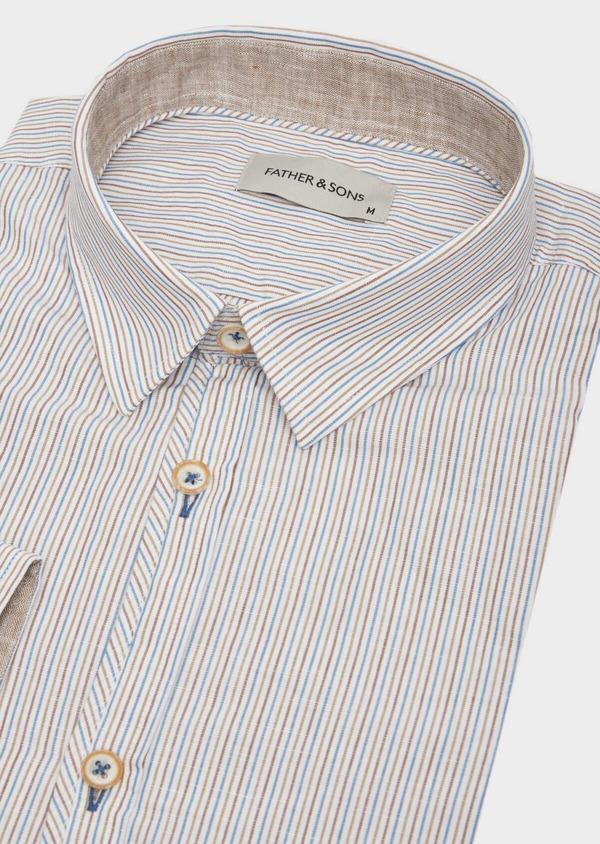 Chemise sport Slim en lin et coton blanc à rayures - Father and Sons 39466