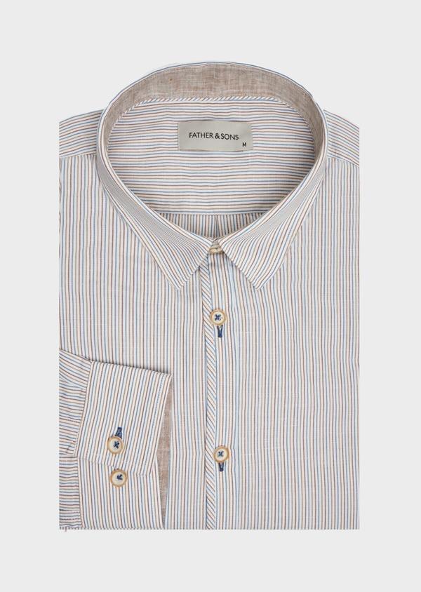 Chemise sport Slim en lin et coton blanc à rayures - Father and Sons 39464