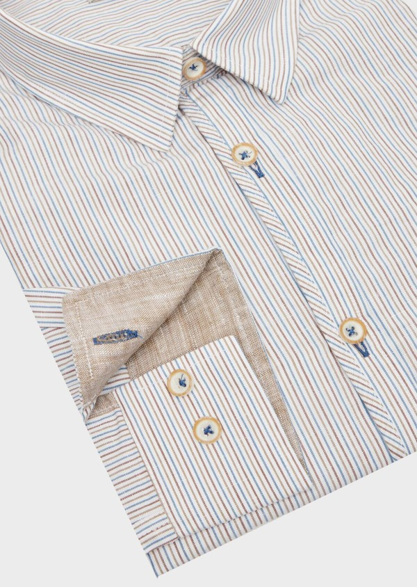 Chemise sport Slim en lin et coton blanc à rayures - Father and Sons 39467