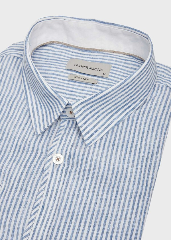 Chemise sport Slim en lin blanc à rayures - Father and Sons 39478