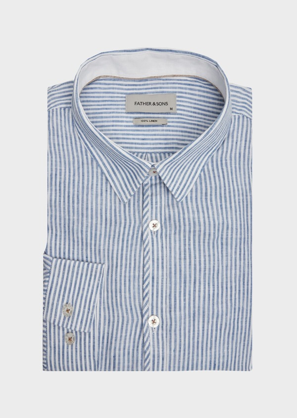 Chemise sport Slim en lin blanc à rayures - Father and Sons 39476