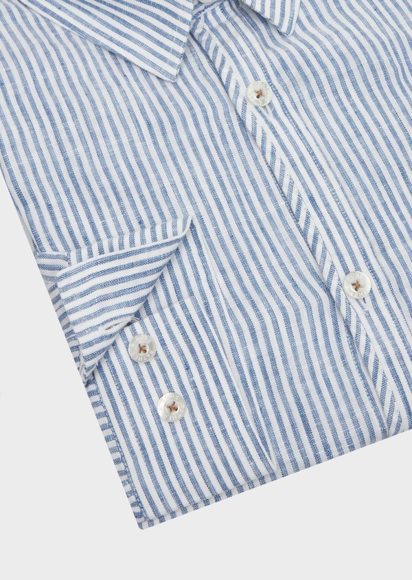 Chemise sport Slim en lin blanc à rayures - Father and Sons 39479