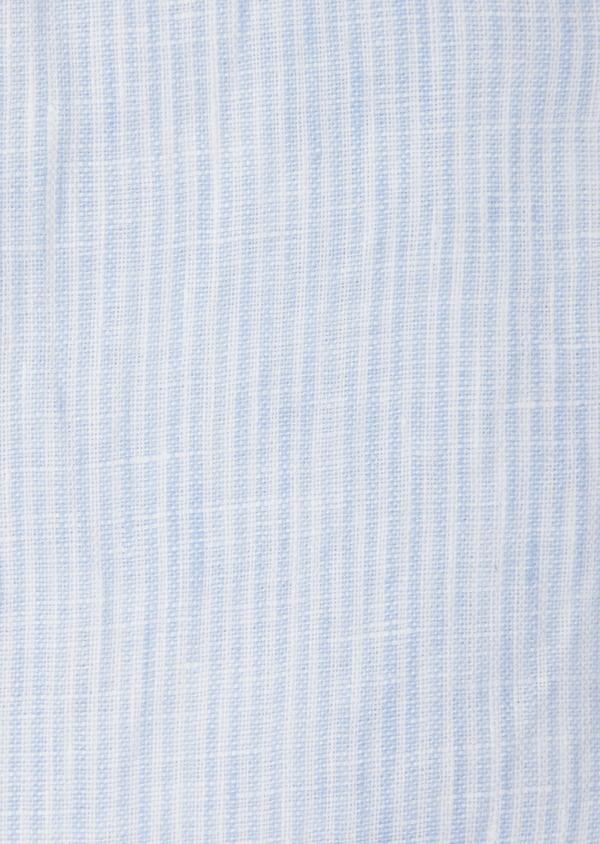 Chemise sport Slim en lin uni bleu ciel à col mao - Father and Sons 40116