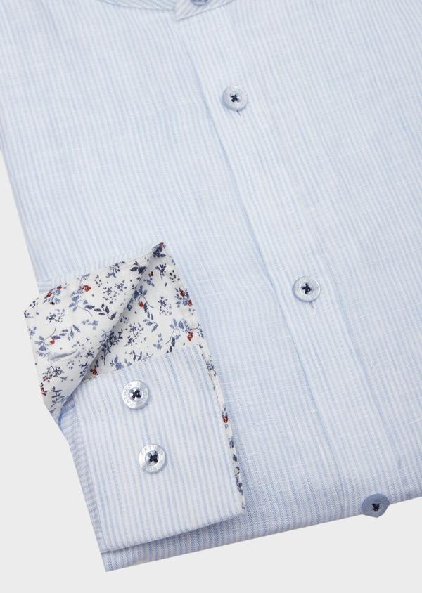 Chemise sport Slim en lin uni bleu ciel à col mao - Father and Sons 40118