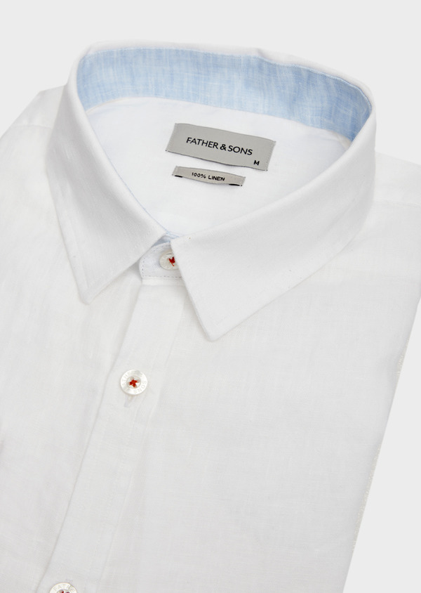 Chemise sport Slim en lin uni blanc - Father and Sons 39462
