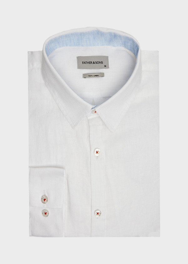 Chemise sport Slim en lin uni blanc - Father and Sons 39460