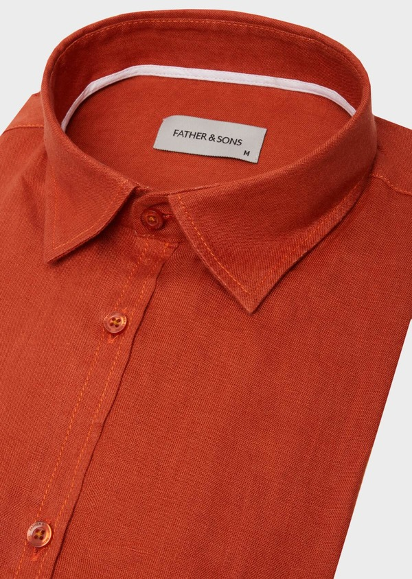 Chemise sport Slim en lin uni rouge - Father and Sons 40150