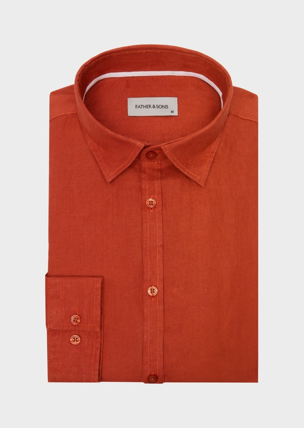 Chemise sport Slim en lin uni rouge - Father and Sons 40148