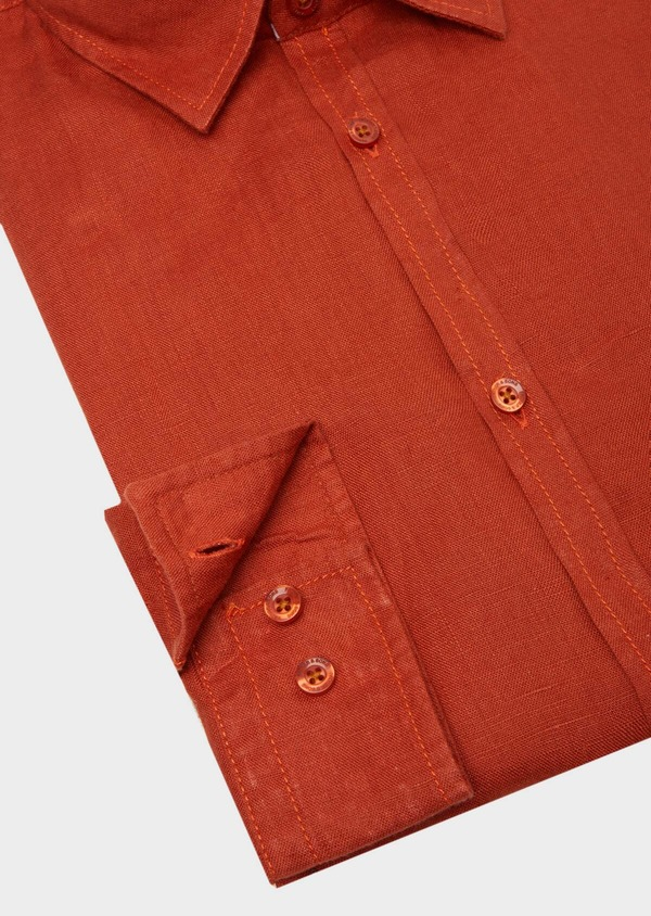 Chemise sport Slim en lin uni rouge - Father and Sons 40151