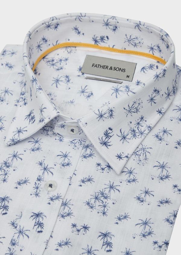 Chemise manches courtes Regular en popeline de coton blanc à motif fantaisie - Father and Sons 38425