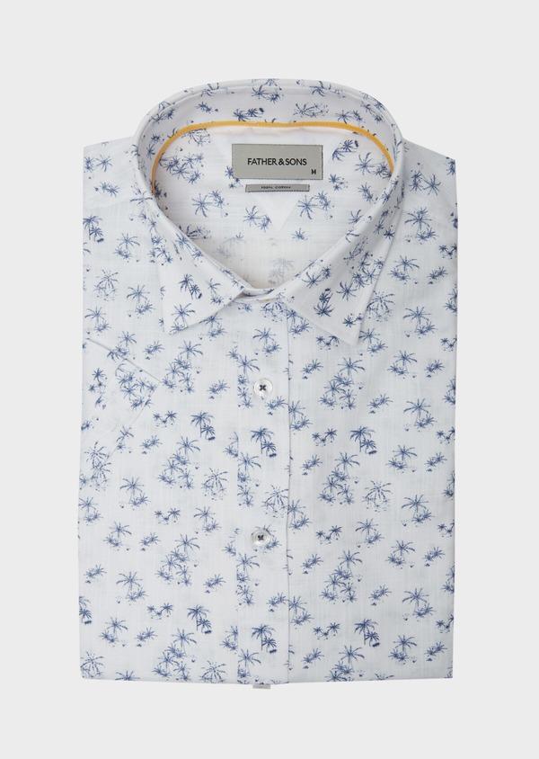 Chemise manches courtes Regular en popeline de coton blanc à motif fantaisie - Father and Sons 38423