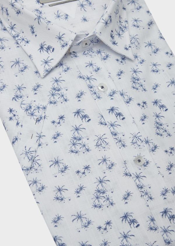 Chemise manches courtes Regular en popeline de coton blanc à motif fantaisie - Father and Sons 38426
