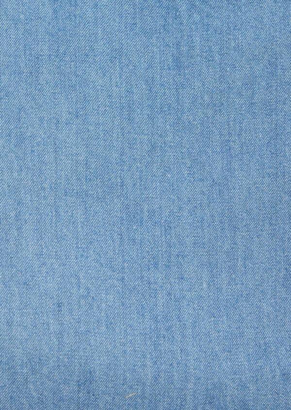 Chemise manches courtes Regular en popeline de coton uni bleu chambray - Father and Sons 40480