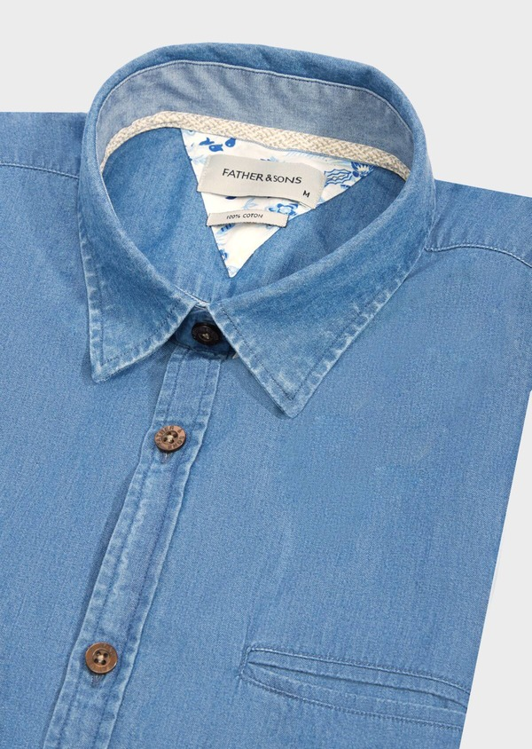 Chemise manches courtes Regular en popeline de coton uni bleu chambray - Father and Sons 40481