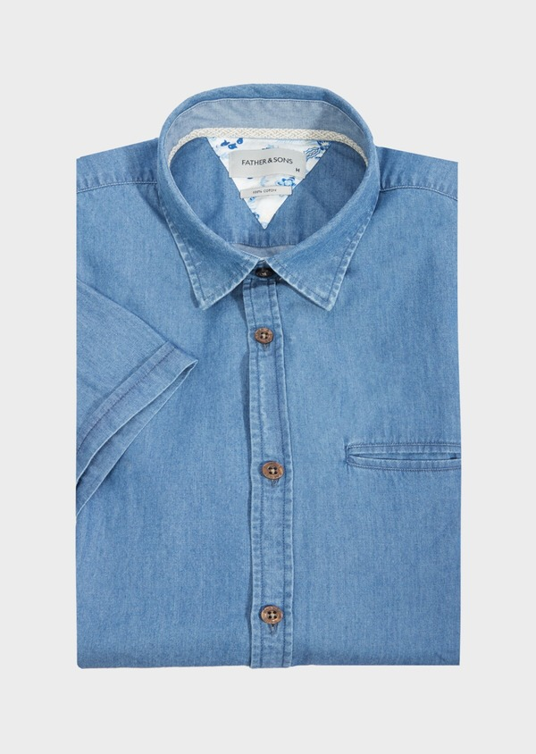 Chemise manches courtes Regular en popeline de coton uni bleu chambray - Father and Sons 40479
