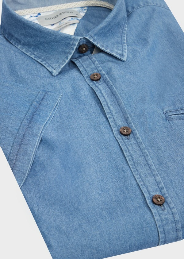 Chemise manches courtes Regular en popeline de coton uni bleu chambray - Father and Sons 40482
