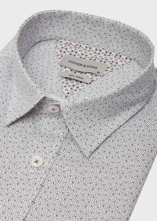 Chemise manches courtes Slim en popeline de coton blanc à motif fantaisie - Father and Sons 40160