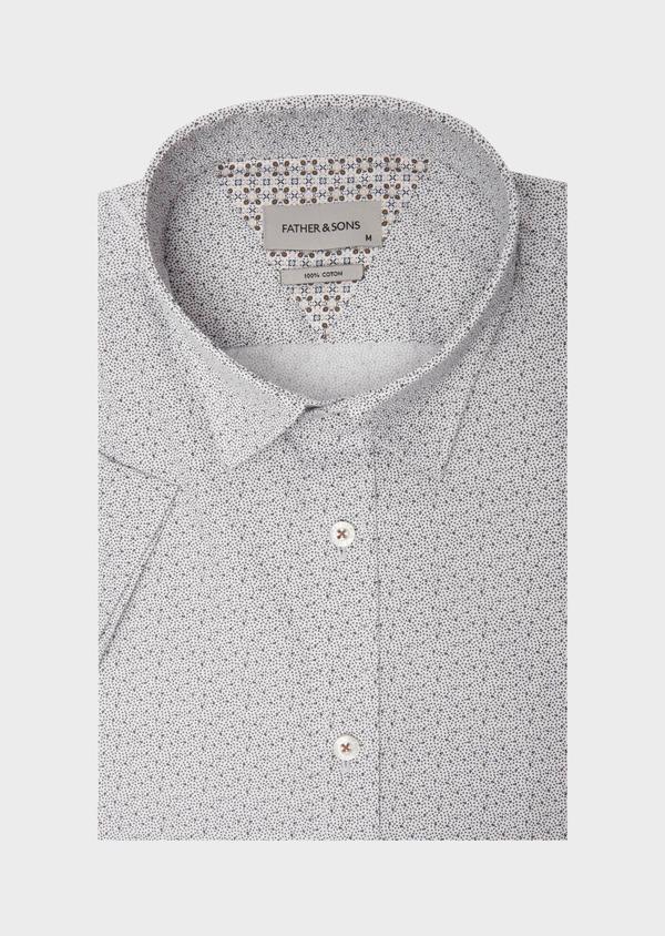 Chemise manches courtes Slim en popeline de coton blanc à motif fantaisie - Father and Sons 40156
