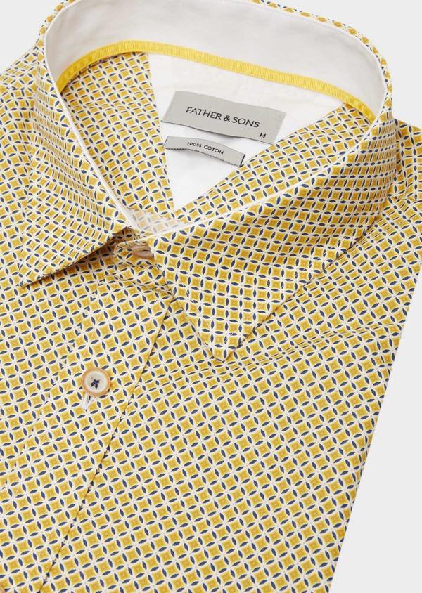 Chemise manches courtes Slim en popeline de coton blanc à motif fantaisie - Father and Sons 40133