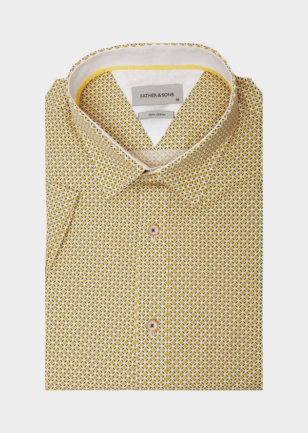 Chemise manches courtes Slim en popeline de coton blanc à motif fantaisie - Father and Sons 40131