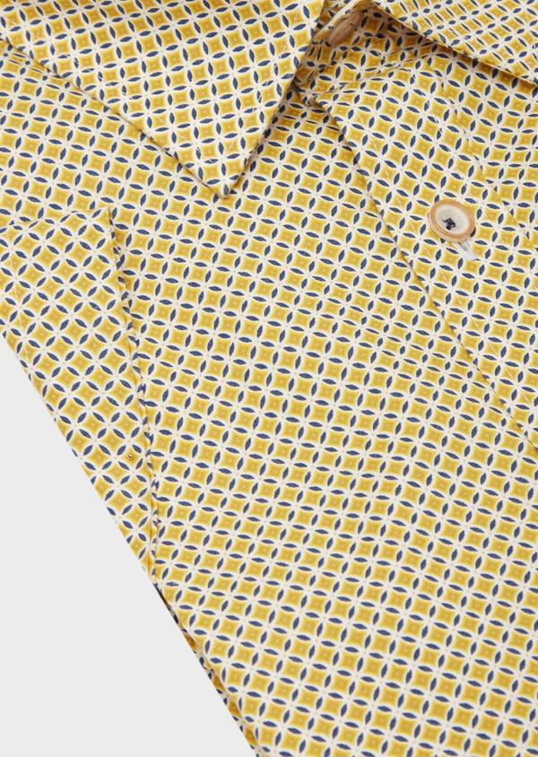 Chemise manches courtes Slim en popeline de coton blanc à motif fantaisie - Father and Sons 40134