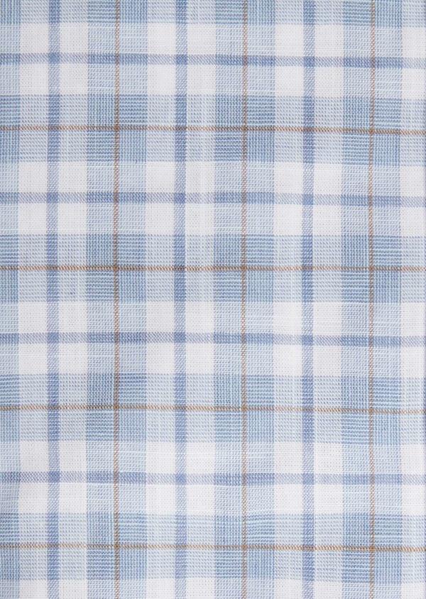 Chemise manches courtes Slim en popeline de coton bleu à motif fantaisie - Father and Sons 40124