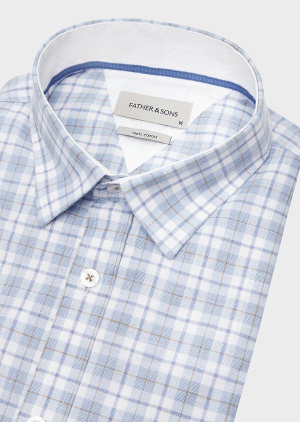 Chemise manches courtes Slim en popeline de coton bleu à motif fantaisie - Father and Sons 40125