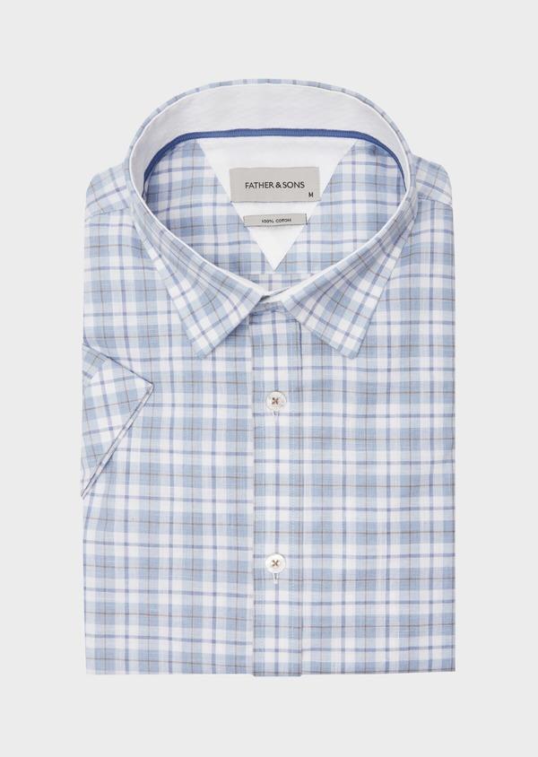 Chemise manches courtes Slim en popeline de coton bleu à motif fantaisie - Father and Sons 40123