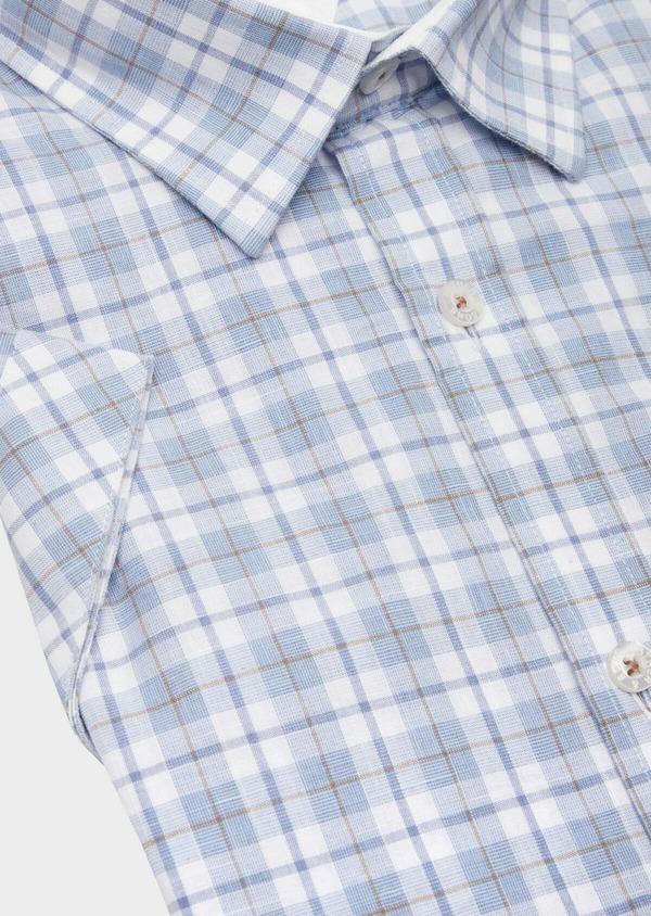 Chemise manches courtes Slim en popeline de coton bleu à motif fantaisie - Father and Sons 40126