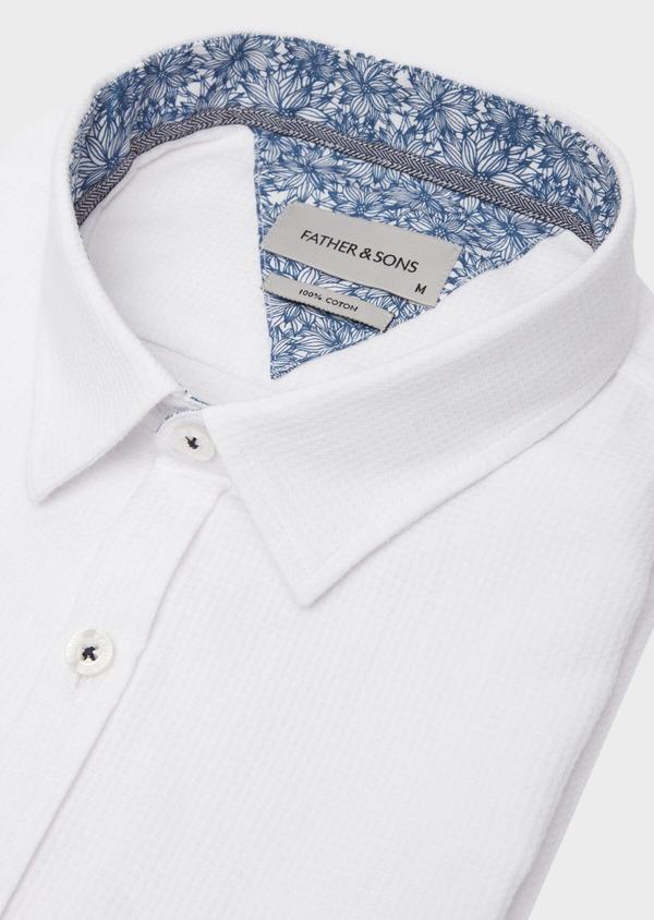 Chemise manches courtes Slim en coton façonné uni blanc - Father and Sons 40121