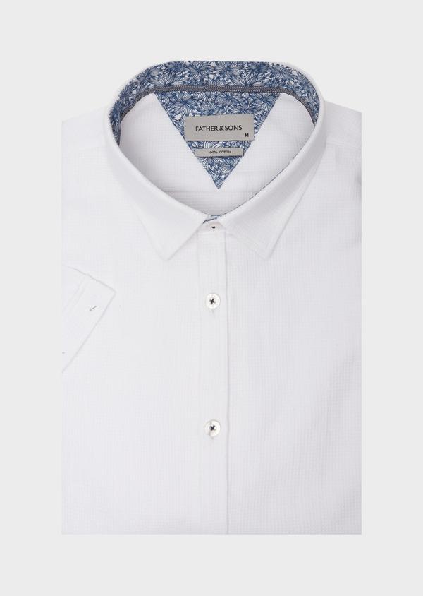 Chemise manches courtes Slim en coton façonné uni blanc - Father and Sons 40119