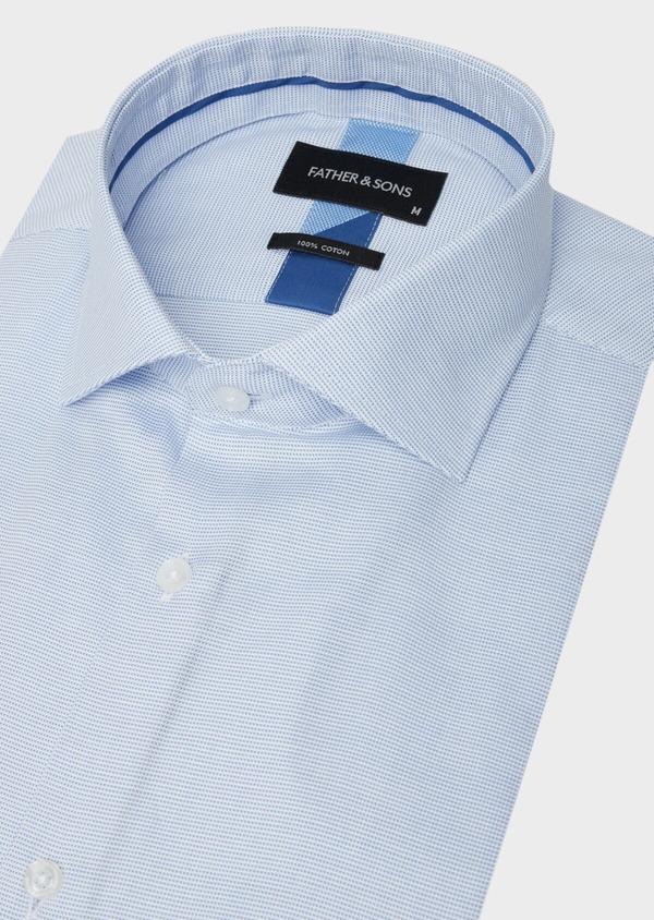 Chemise manches courtes Slim en façonné de coton bleu azur à motif fantaisie - Father and Sons 40473