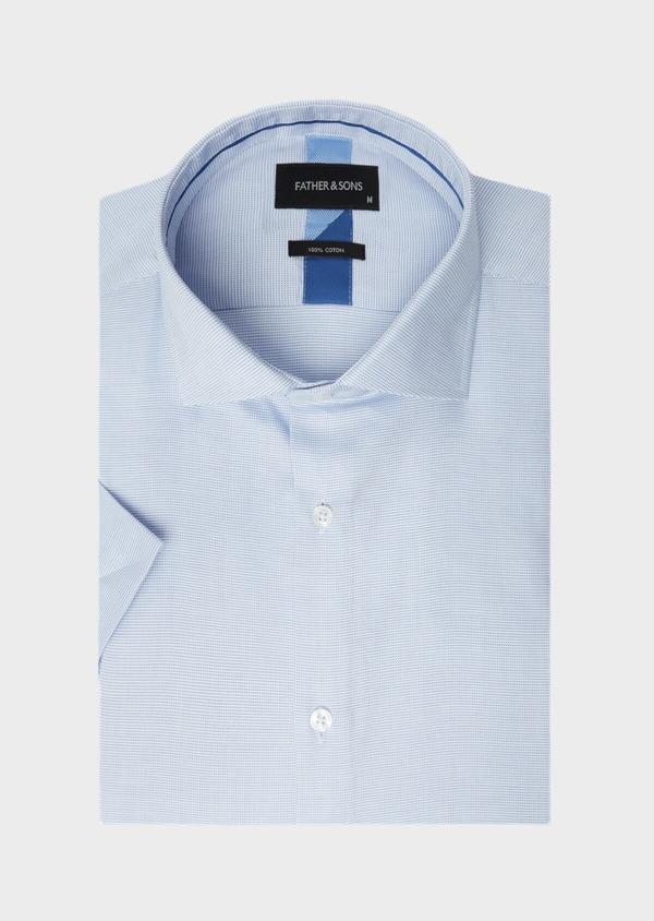 Chemise manches courtes Slim en façonné de coton bleu azur à motif fantaisie - Father and Sons 40470