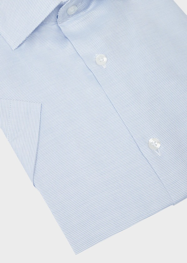 Chemise manches courtes Slim en façonné de coton bleu azur à motif fantaisie - Father and Sons 40472