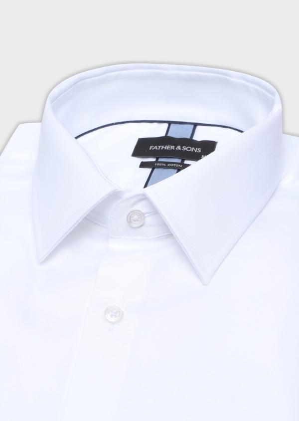 Chemise manches courtes Regular en satin de coton uni blanc - Father and Sons 34103