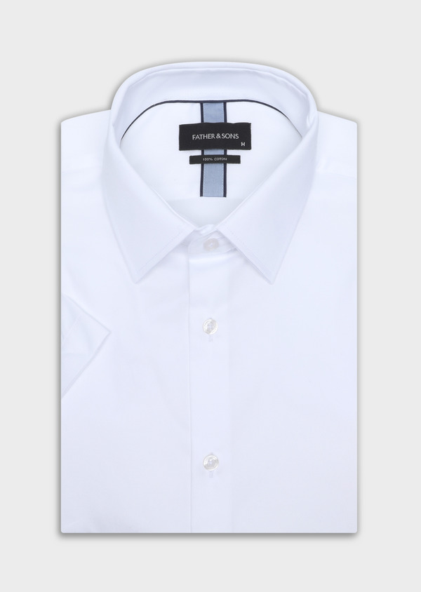 Chemise manches courtes Regular en satin de coton uni blanc - Father and Sons 34101