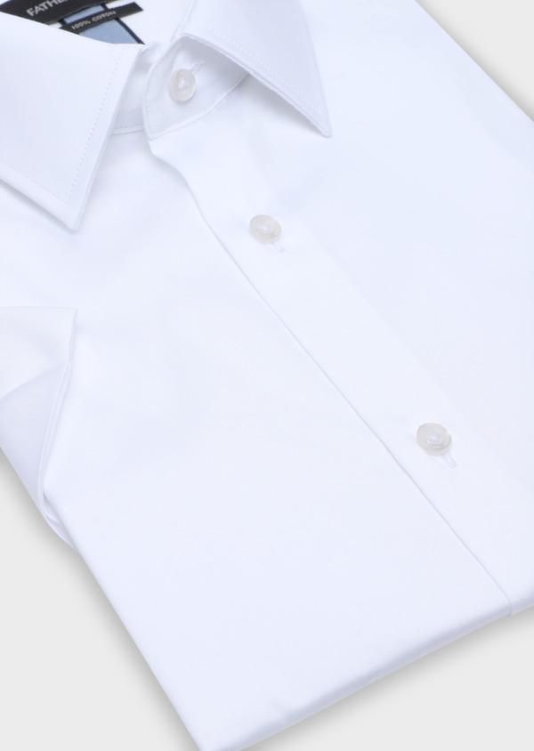 Chemise manches courtes Regular en satin de coton uni blanc - Father and Sons 34104