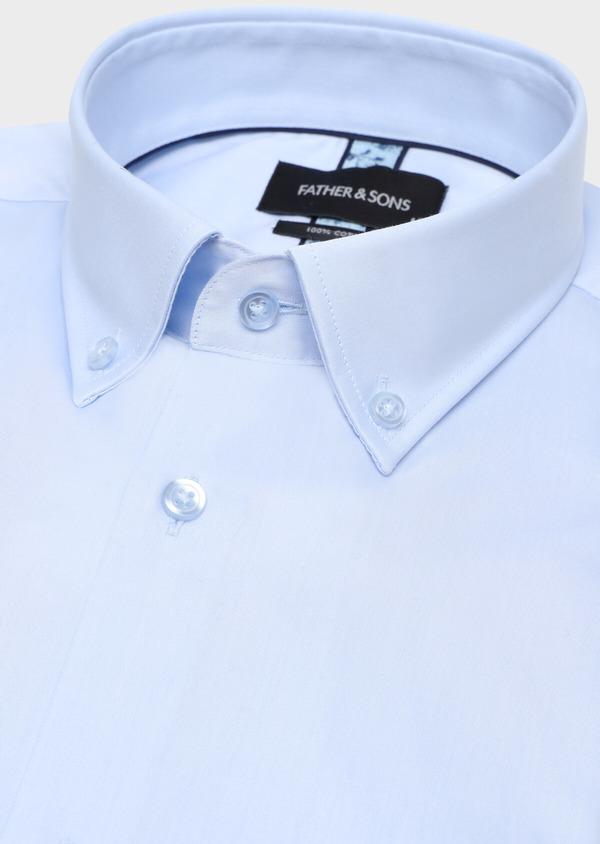 Chemise manches courtes Regular en satin de coton uni bleu ciel - Father and Sons 34107