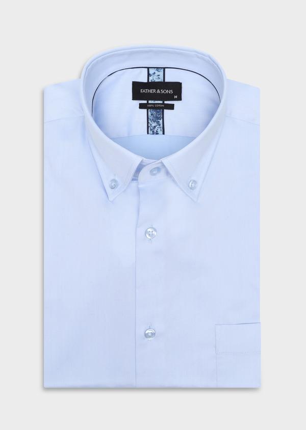 Chemise manches courtes Regular en satin de coton uni bleu ciel - Father and Sons 34105
