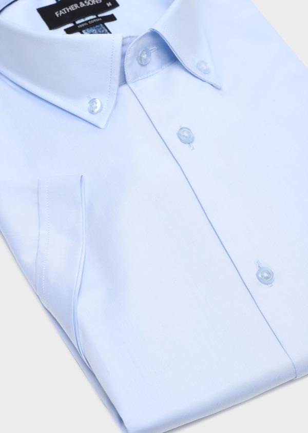 Chemise manches courtes Regular en satin de coton uni bleu ciel - Father and Sons 34108