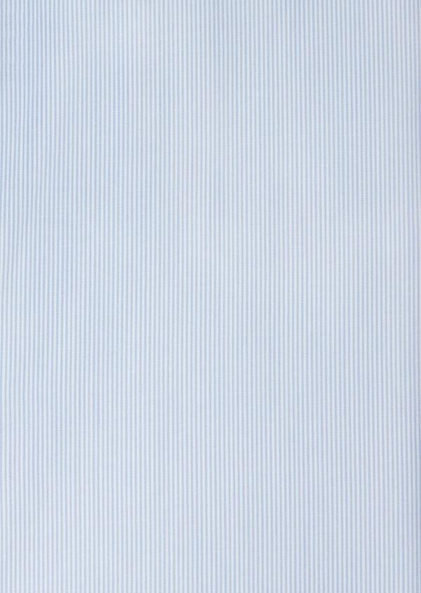 Chemise manches courtes Slim en façonné de coton bleu pâle à rayures - Father and Sons 40451