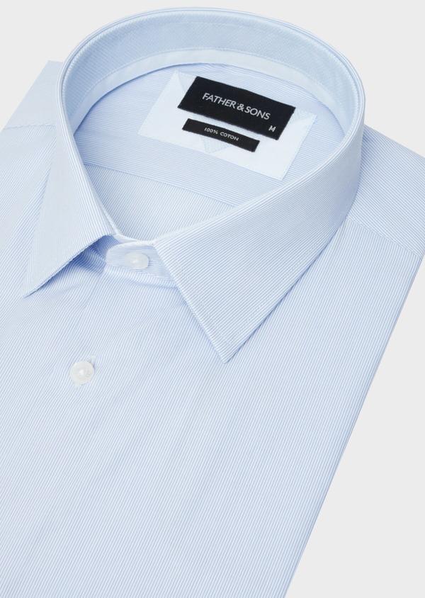 Chemise manches courtes Slim en façonné de coton bleu pâle à rayures - Father and Sons 40452