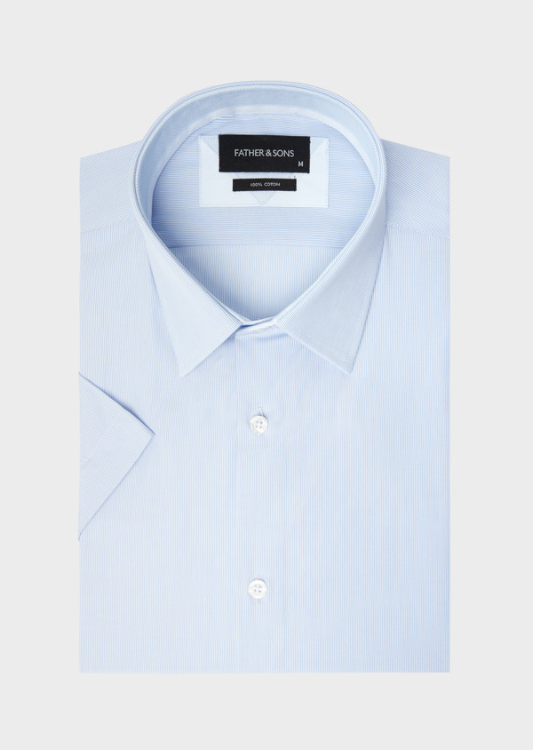 Chemise manches courtes Slim en façonné de coton bleu pâle à rayures - Father and Sons 40450