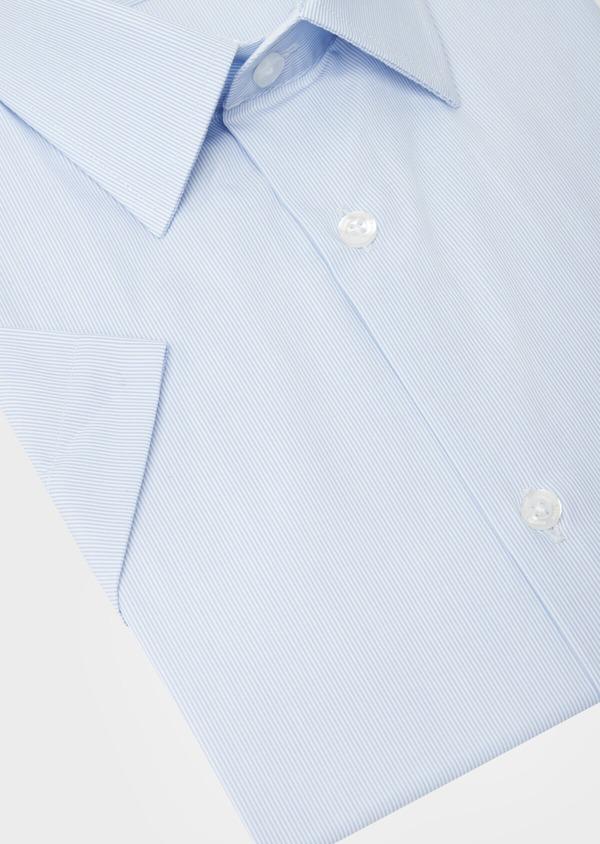 Chemise manches courtes Slim en façonné de coton bleu pâle à rayures - Father and Sons 40453