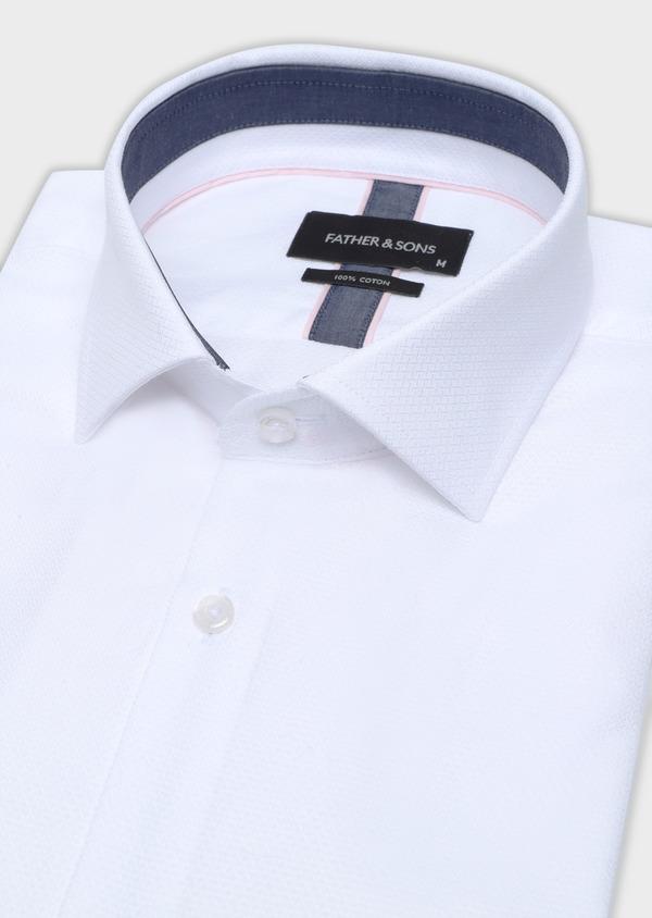 Chemise manches courtes Slim en coton façonné uni blanc - Father and Sons 34111