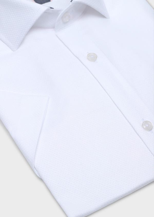 Chemise manches courtes Slim en coton façonné uni blanc - Father and Sons 34112